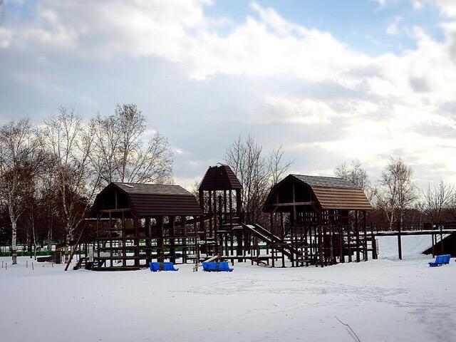雪に埋まっている遊具