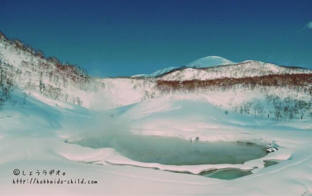 雪景色の「大湯沼」