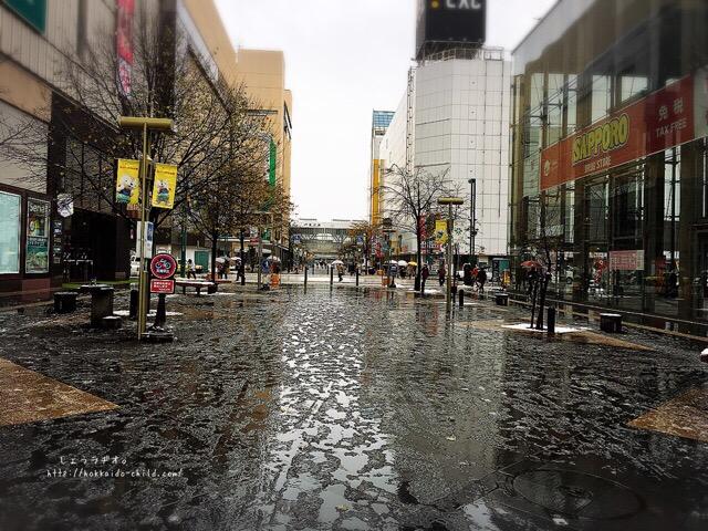 旭川駅近くの買物公園の通り沿い
