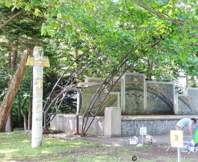 栗山公園 キャンプ場のトーテプポール