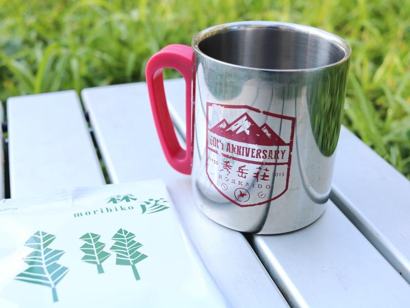 秀岳荘×コールマンのコラボのマグと森彦のコーヒー