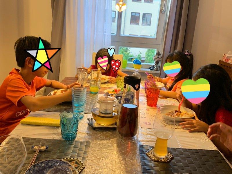 ミュンヘンの友人宅で夕ご飯